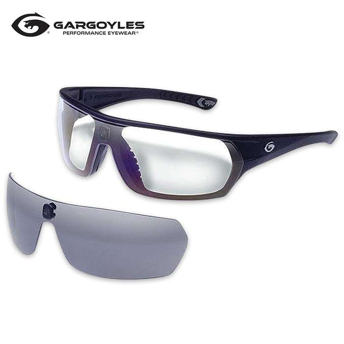 Gargoyles Shifter Matte Black Sunglasses - Smoke And Clear Lens