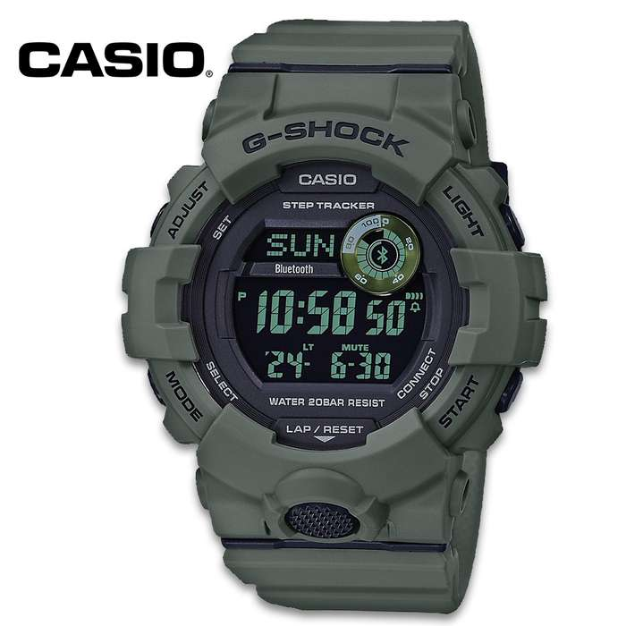 Casio G-Shock Green Power Trainer - Mobile Link, Tough Resin Construction, Water-Resistant 200M, LED Backlight