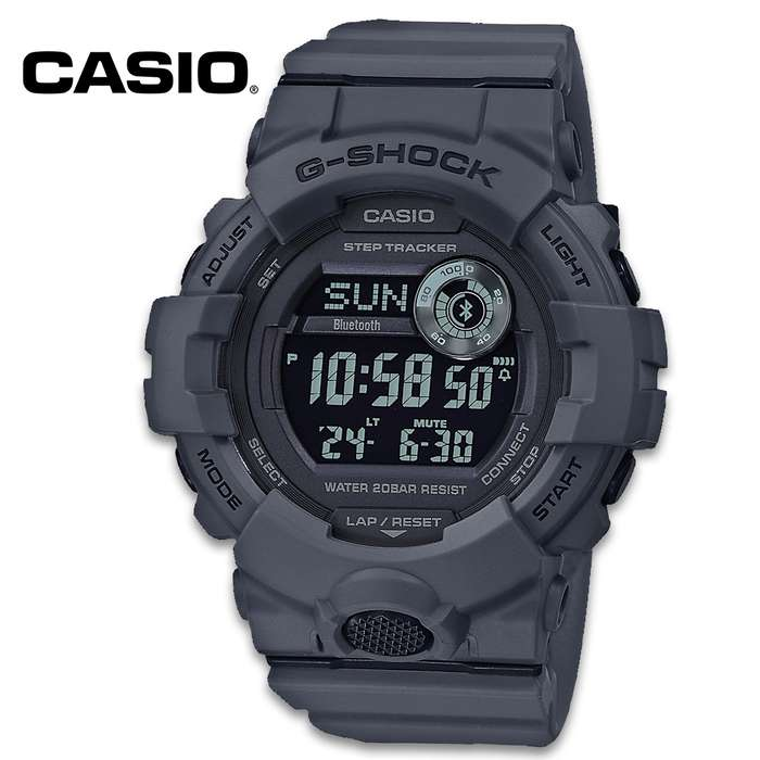 Casio G-Shock Power Trainer Watch - Dark Slate, Bluetooth, Mineral Glass, LED Backlight, Step Counter, Fitness Support
