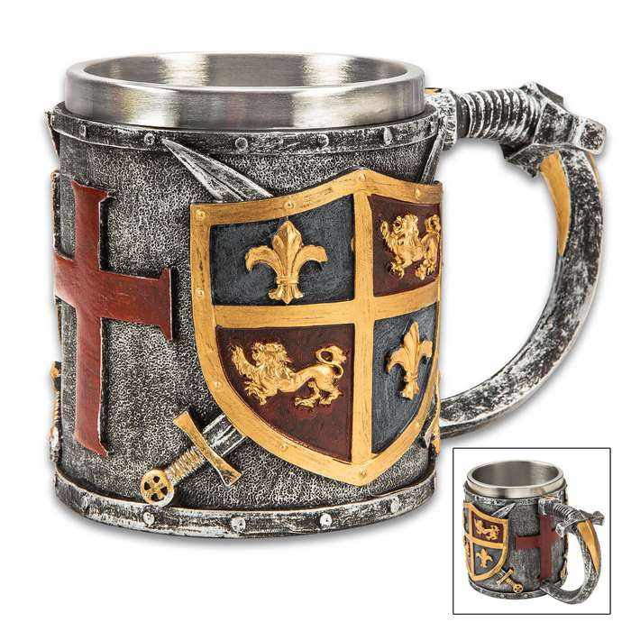 "Medieval Coat Of Arms Mug And Tankard - Crafted Of Cold Cast Resin, 3-D Relief, Exquisitely Painted, Stainless Steel Liner - Dimensions 4 1/4""x 6"""