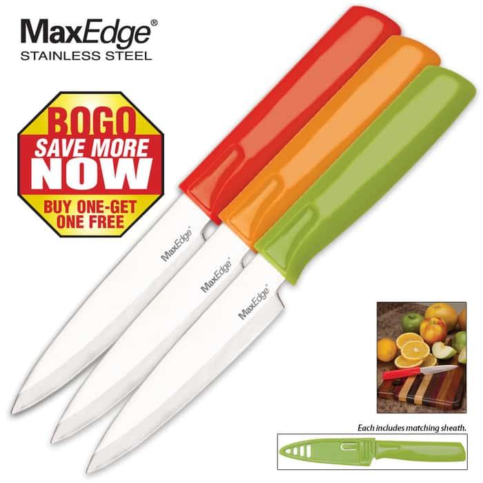 3-Pack Dishwasher Safe Paring Knife Set 2 for 1