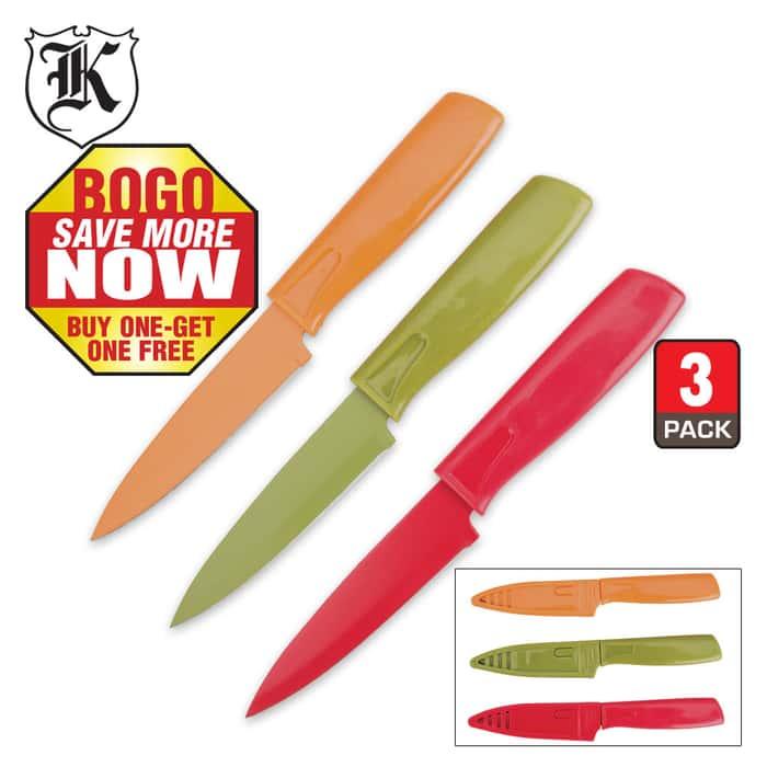 3-Pk. Colored Blades Paring Knife Set BOGO