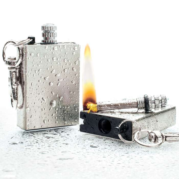 Waterproof Permanent Match Survival Lighter Keychain - Stainless Steel Case, Flint Match, Ferro Rod, Thousands Of Strikes