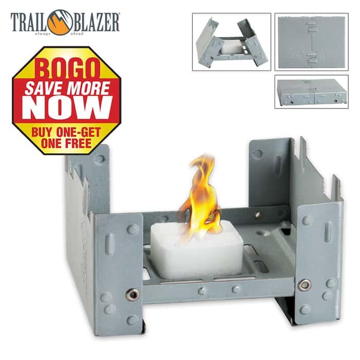 Trailblazer Folding Pocket Stove With Four Fuel Tablets - BOGO