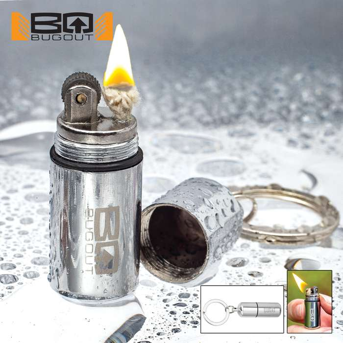 BugOut Water-Resistant Micro Lighter On Keyring - Stainless Steel Construction, Screw Top With O-Ring Seal, Fluid Not Included