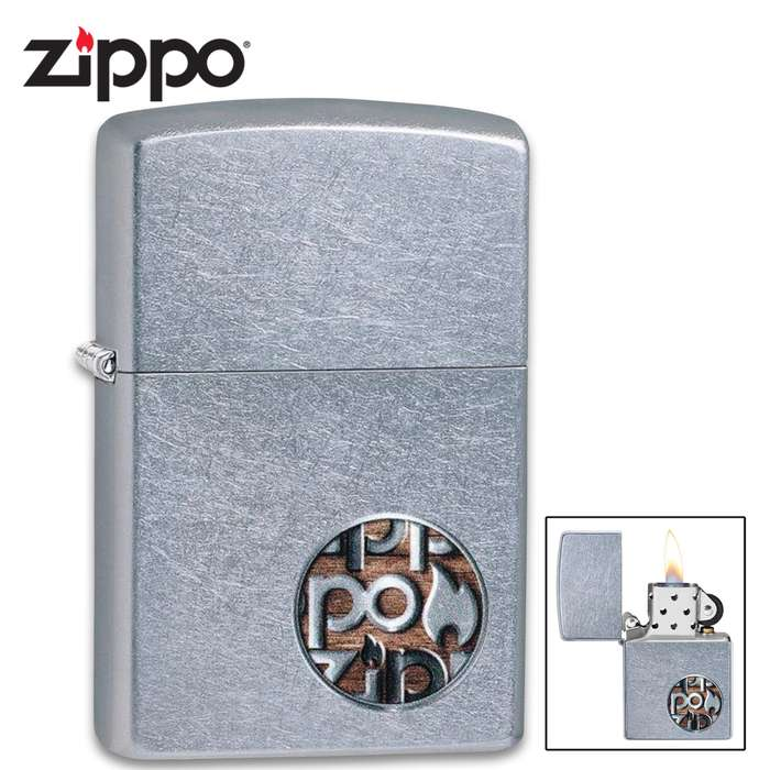 Zippo chrome button logo lighter