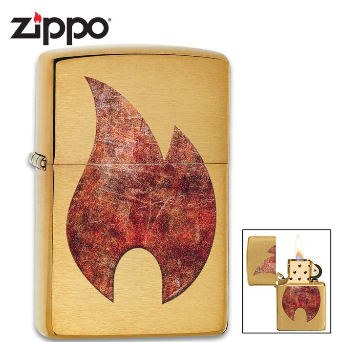 Zippo brass rusty color flame lighter