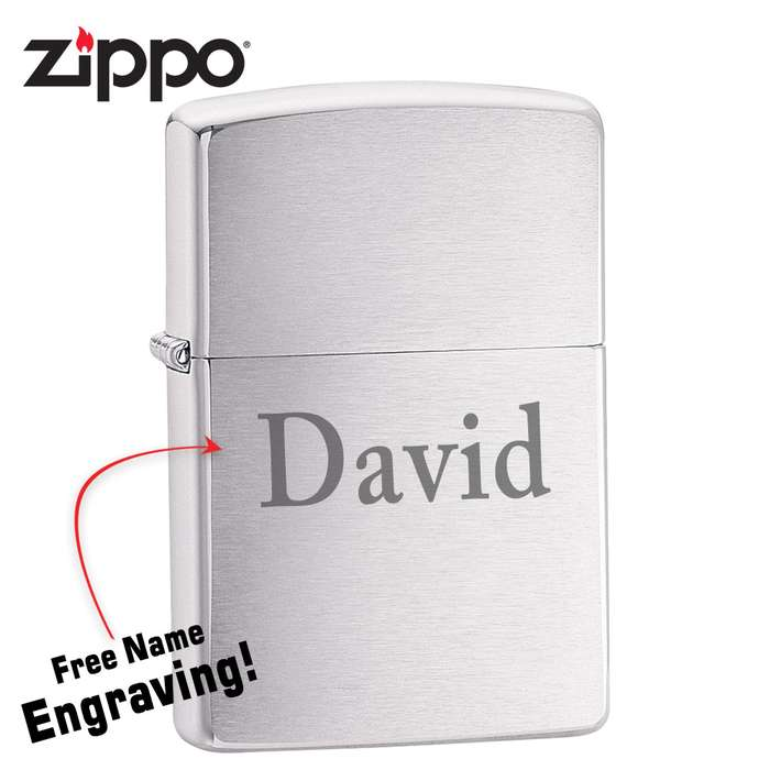Zippo Brushed Chrome Lighter - FREE Engraving