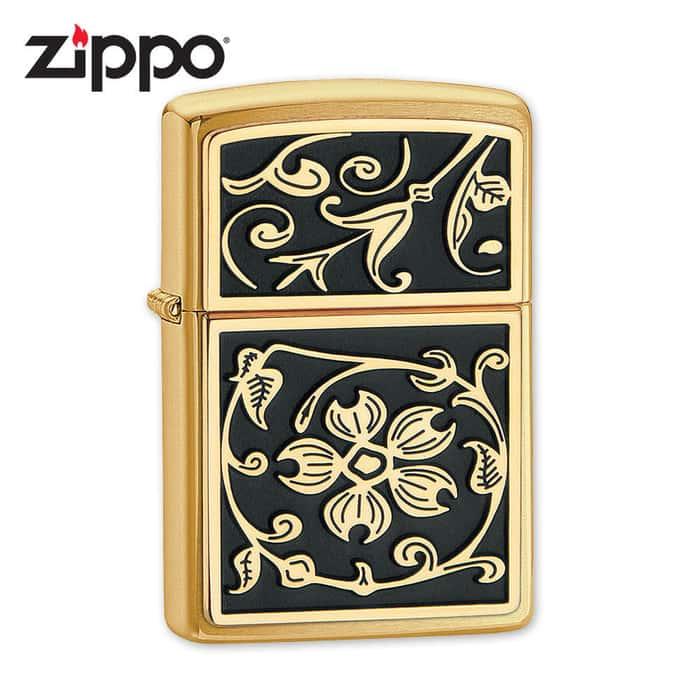 Zippo Gold Floral Flush Lighter