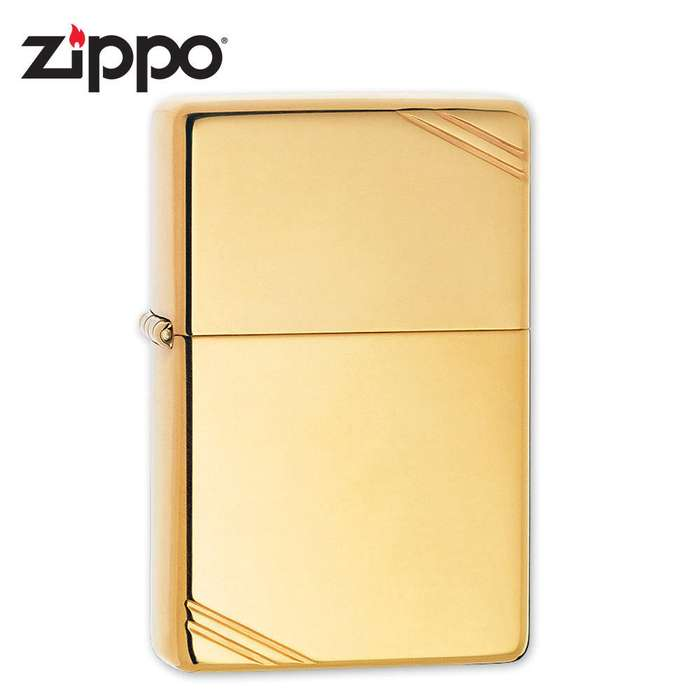 Zippo Vintage Brass Lighter with Slashes