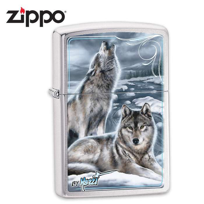 Zippo Howling Wolves Brushed Chrome Lighter