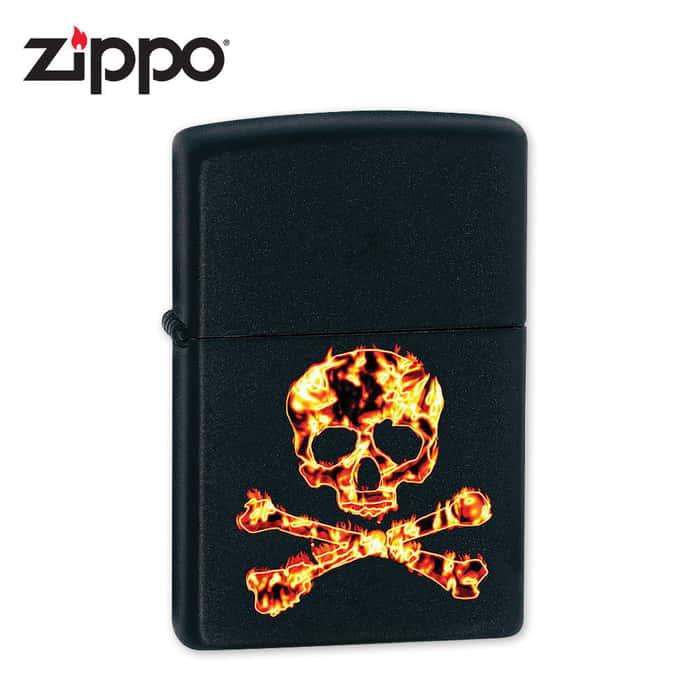 Zippo Fiery Skull & Crossbones Black Matte Lighter