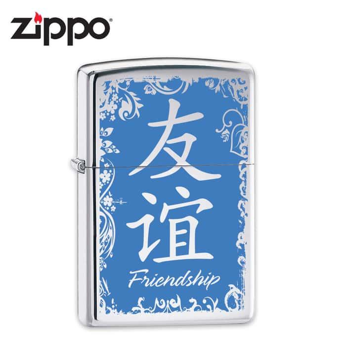 Zippo Chinese Friendship Symbol High Polish Chrome