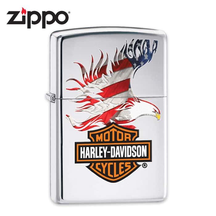 Zippo Harley Davidson Eagle Chrome Lighter