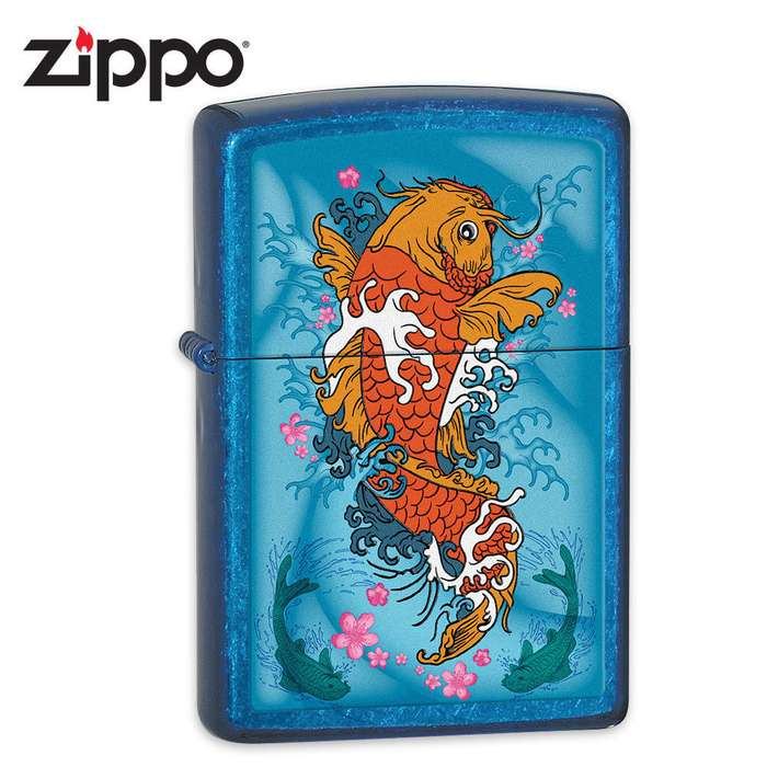 Zippo Koi Fish Cerulean Lighter
