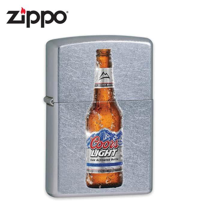 Zippo Coors Light Bottle Street Chrome Lighter