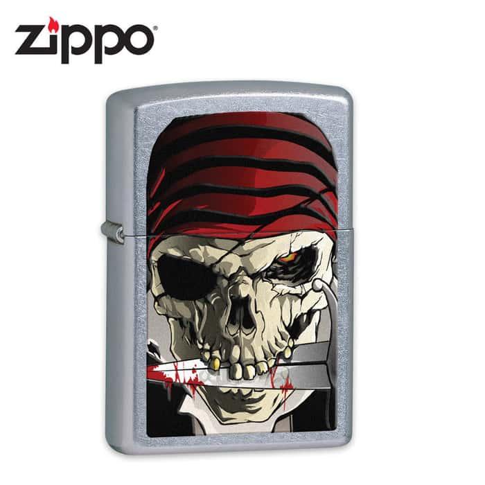 Zippo Pirate Skull Street Chrome Lighter