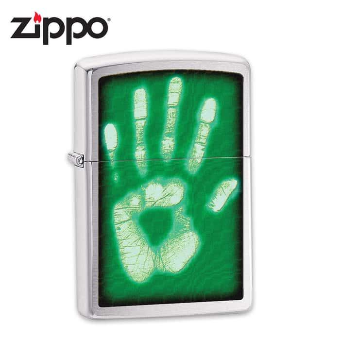 Zippo Identity Hand Print Brushed Chrome Lighter