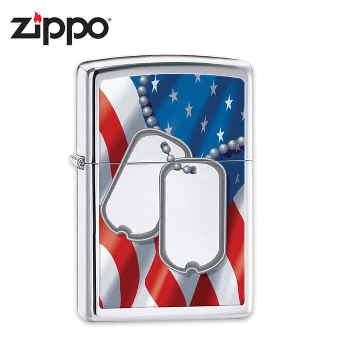 Zippo Dog Tags High Polish Chrome Lighter