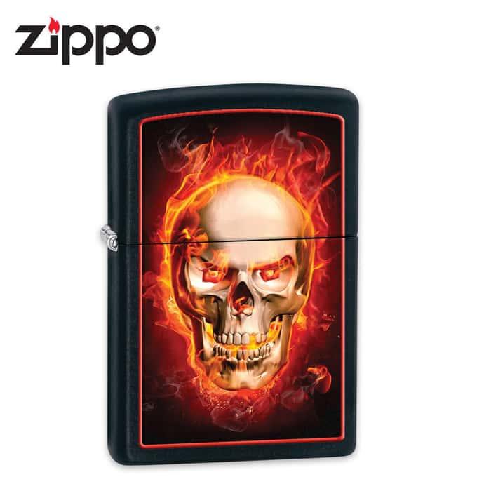 Zippo Firey Skull Black Matte Lighter