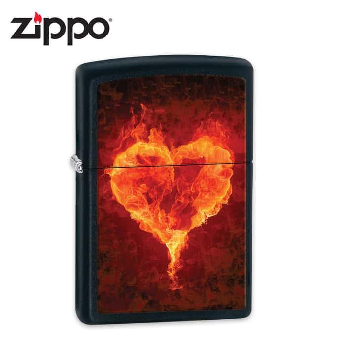 Zippo Firey Heart Black Matte Lighter