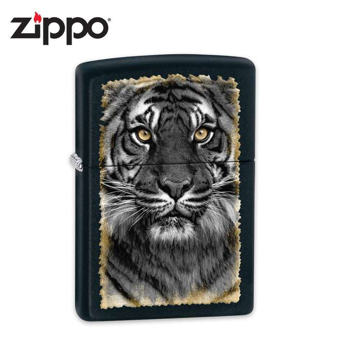Zippo Tiger Face Black Matte Lighter