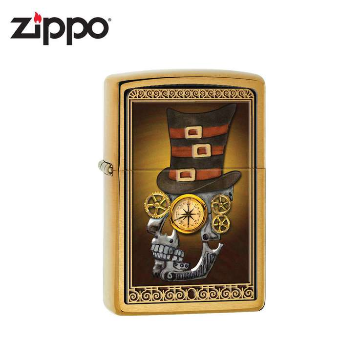 Zippo Industrial Machinery Skull With Compass Lig