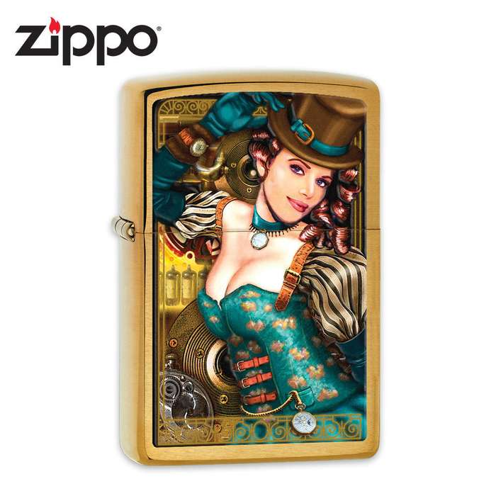Zippo Industrial Machinery Lady w/Time Lighter