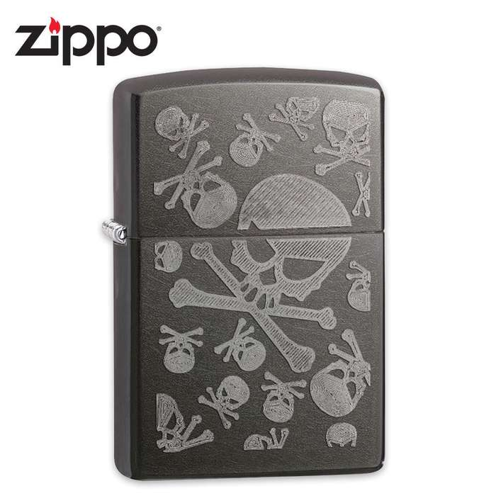 Zippo Gray Dusk Skull And Crossbones Windproof Lighter