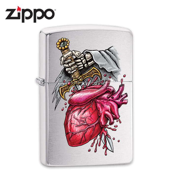 """Pierced Heart"" Zippo Windproof Lighter - Brushed Chrome"