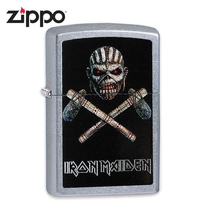 "Iron Maiden Zippo Lighter - Mayan Eddie ""Book of Souls"" Album Art - Street Chrome"