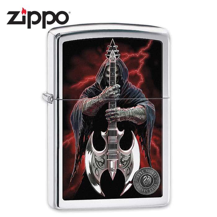 Zippo Anne Stokes Grim Reaper With Scythe Guitar Lighter