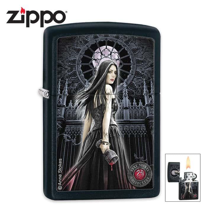 Zippo Anne Stokes Black Matte Gothic Vampire