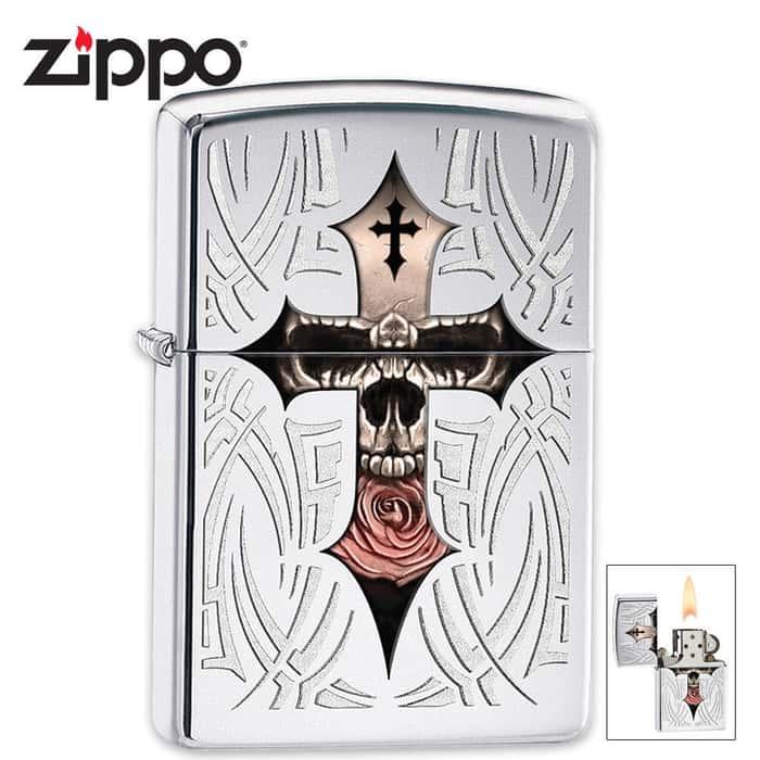 Zippo Chrome Cross And Skull