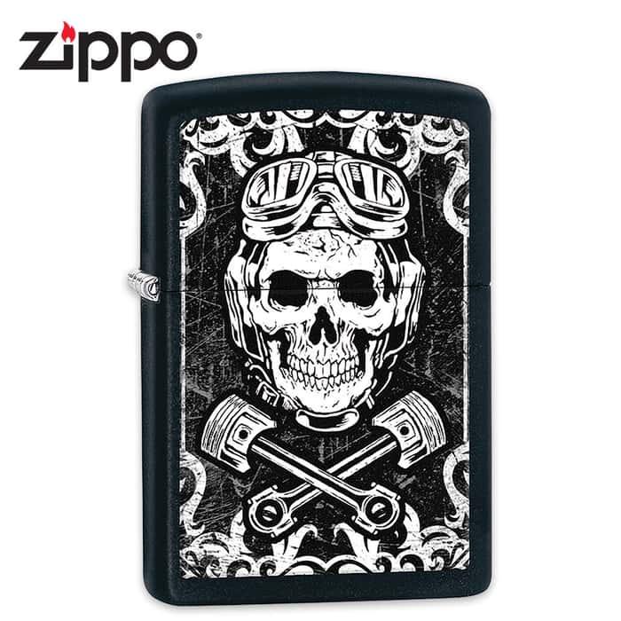 Zippo Black Matte Skull And Pistons - Lighter