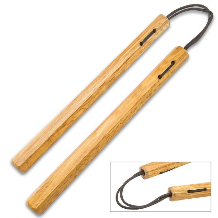 Brown Wooden Nunchaku - Solid Wooden Construction, Sturdy Nylon Cord, Quality Gear - Length 12""