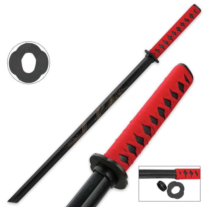 Samurai Red Wooden Dragon Bokken Sword
