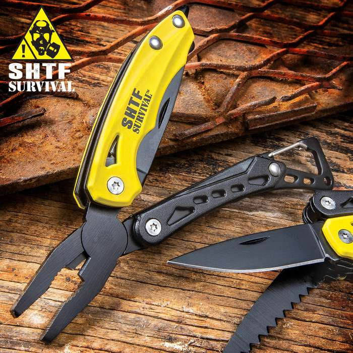 SHTF Yellow Multi-Tool And Carabiner Clip - Stainless Steel Blade, Aluminum Handle, Pliers, Saw, Bottle Opener, Phillips Head - Length 4 1/2""