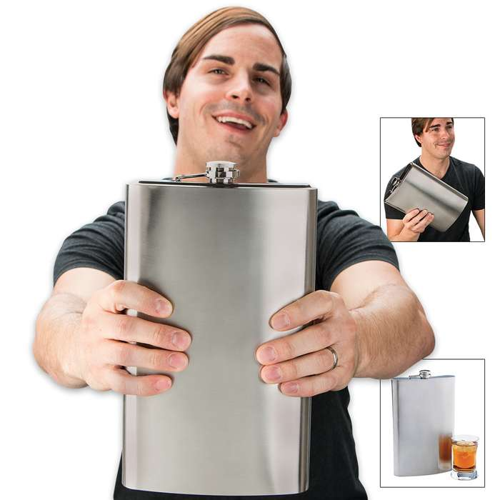 Jumbo 64 oz. Stainless Steel Liquor Flask