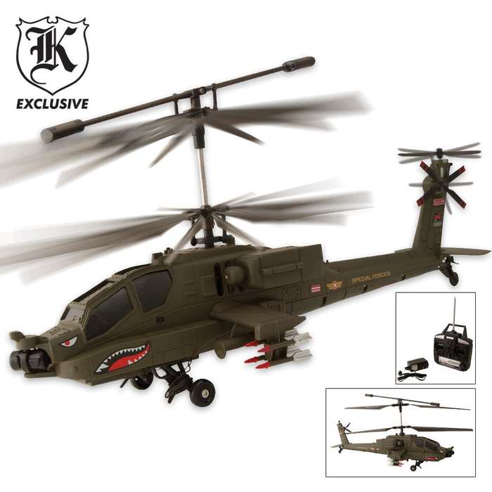 3 Channel RC Remote Controlled Apache Helicopter