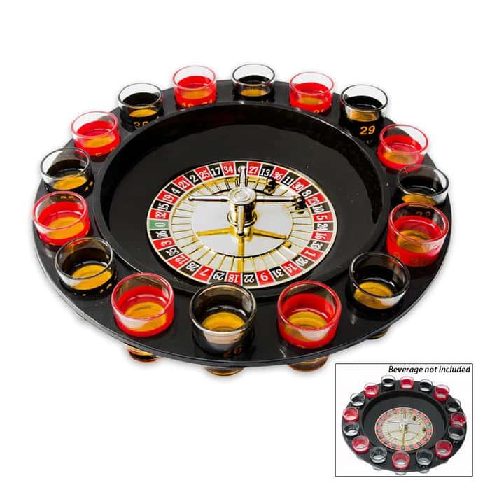 Roulette Wheel Drinking Game Shotglasses Set