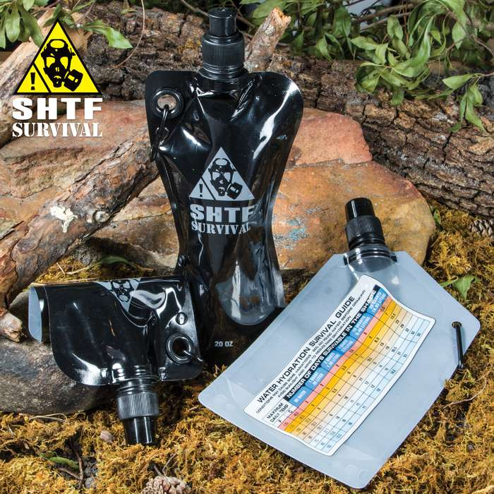 SHTF Survival Flask 3-Pack with Funnel, Carabiners - Two 20-oz Flasks, One 26-oz Flask