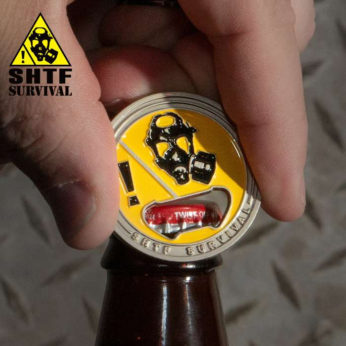 SHTF Challenge Coin Bottle Opener - Silver Finish, Crafted Of Metal Alloy, Detailed 3D Relief On Each Side - Dimension 1 5/8""