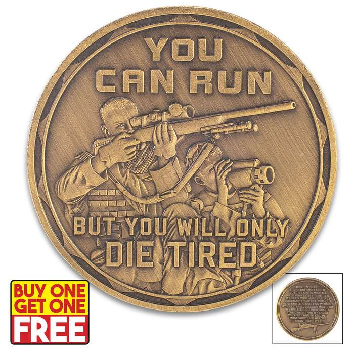 """Sniper Challenge Coin - Antique Brass Finish, Crafted Of Metal Alloy, Detailed 3D Relief On Each Side - Dimension 1 5/8"""" - BOGO"""