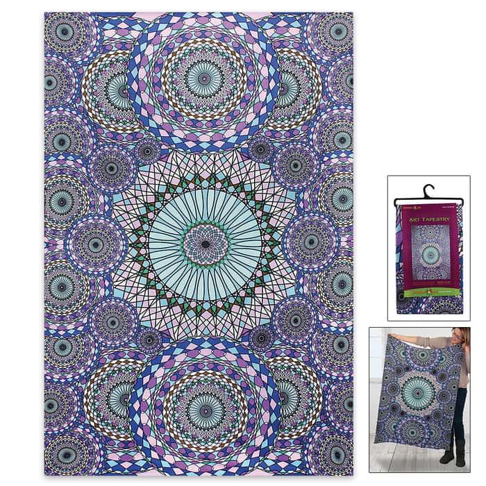 "Purple Rings Of Water 3D Tapestry - 60""x90"""