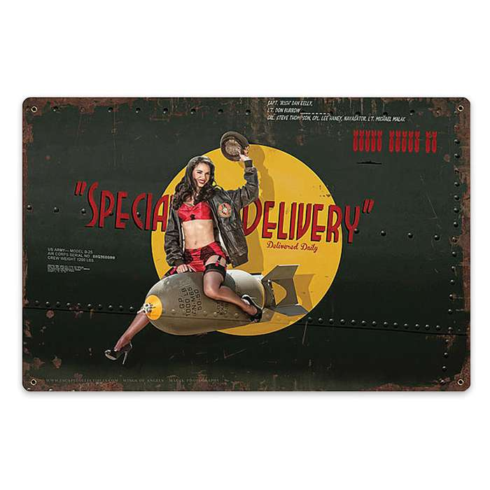 Special Delivery Nose Art Metal Sign