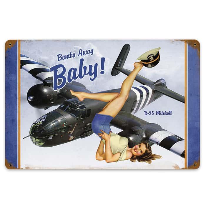 Bombs Away Baby Metal Sign