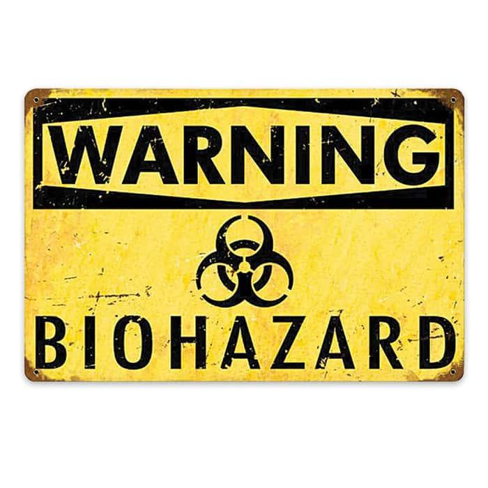Warning-Biohazard Metal Sign