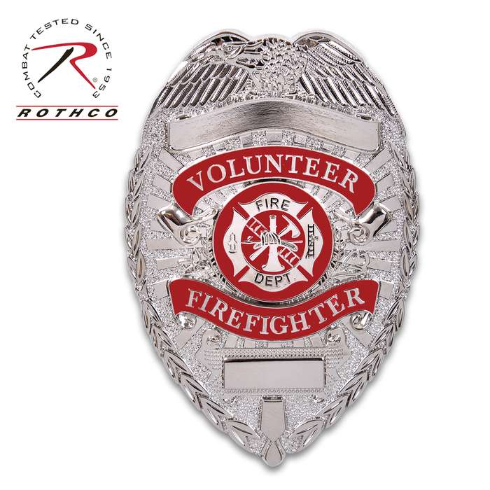 """Rothco Deluxe Silver Volunteer Firefighter Badge - Nickel-Plated, Sturdy Pin, Red Insignia - Dimensions 3 1/8""""x2 1/4"""""""