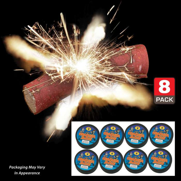 Cracker Jacks Super Poppers - Eight Pack, Super Loud, 20 In Each Can, Outdoor Use Only